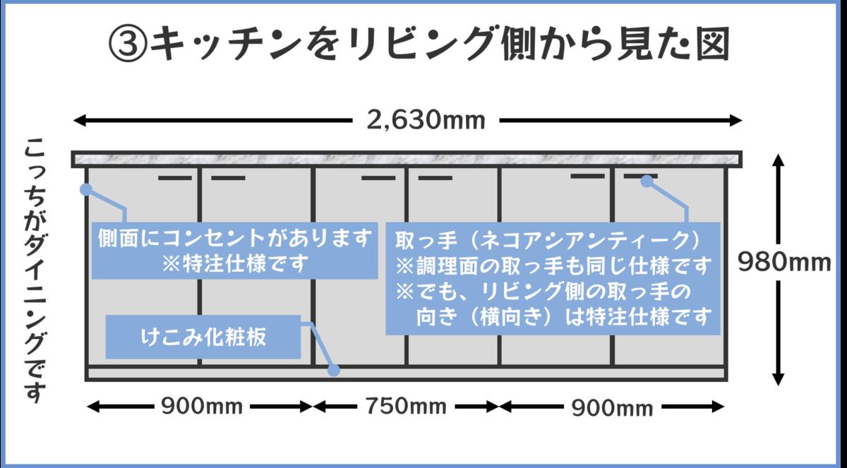 キッチンをリビング側から見た図